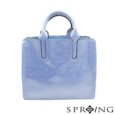 SPRING-朴秘書的柔軟真皮方包-優雅淺藍