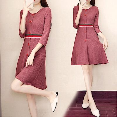 DABI 韓國風名媛修身高腰收腰粉色針織長袖洋裝