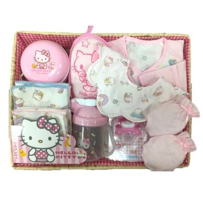 三麗鷗 Hello Kitty 凱蒂貓新生兒童玩寶寶彌月禮盒組-C款
