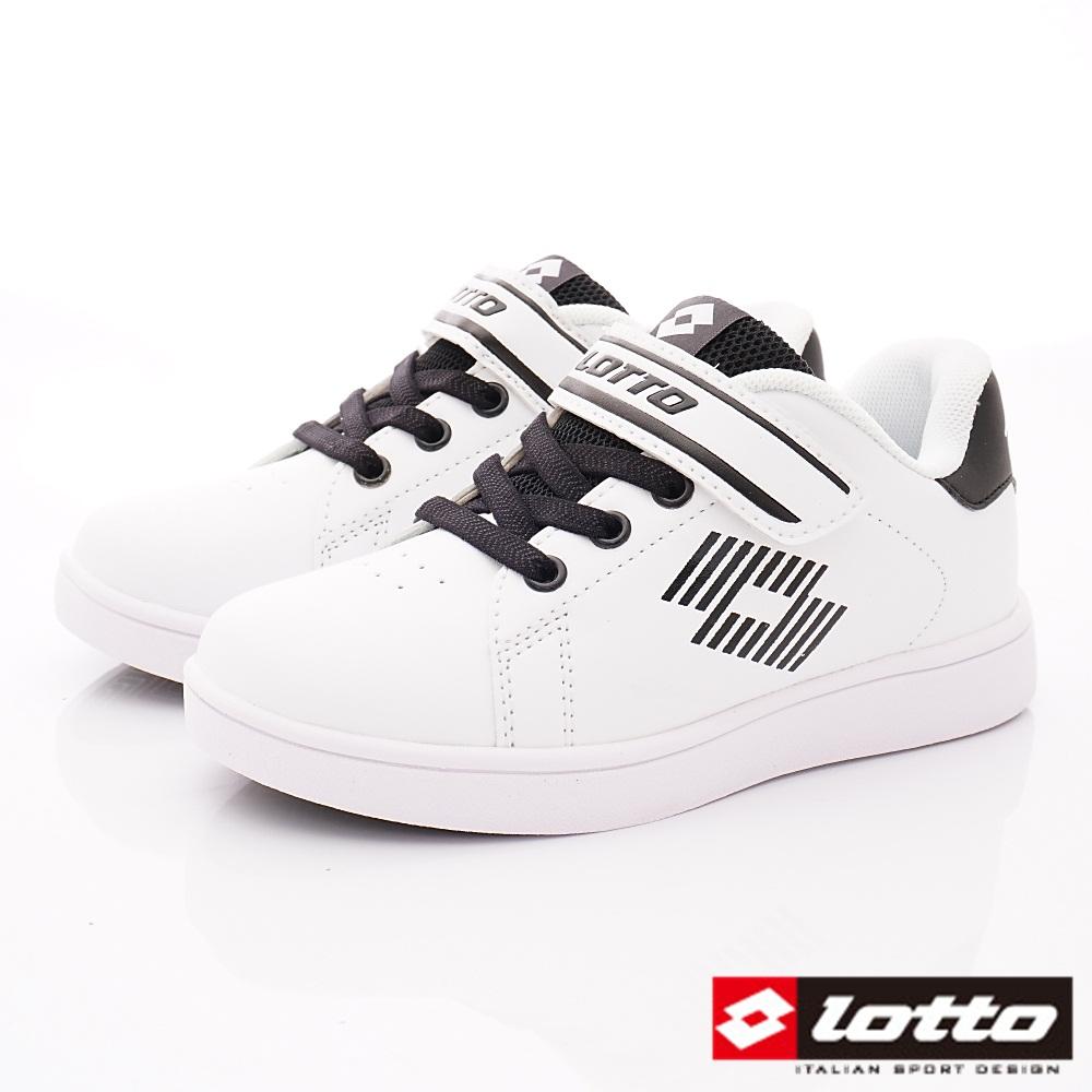 Lotto義大利運動鞋 經典網球鞋款 SI988白黑(中大童段)