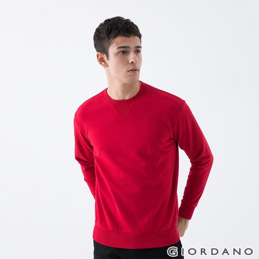 GIORDANO 男裝簡約素色大學T恤 - 09 新冠軍紅