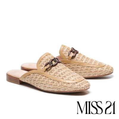 拖鞋 MISS 21 慵懶度假風木紋鍊條草編穆勒高跟拖鞋-米