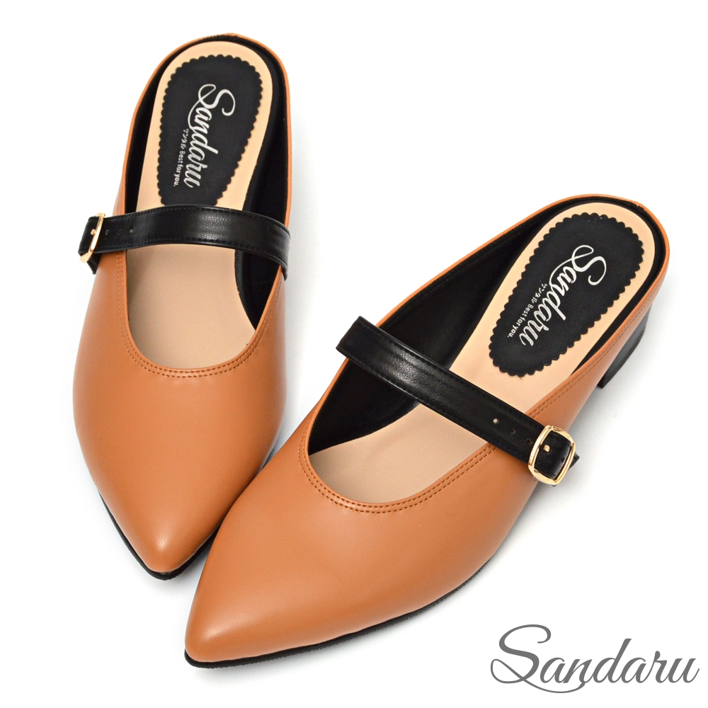 山打努SANDARU-穆勒鞋 法式尖頭皮帶釦粗跟拖鞋-棕