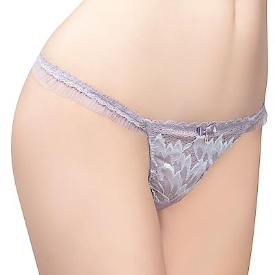 思薇爾 撩波羽晶伶系列M-XL蕾絲低腰丁字褲(夜櫻灰)