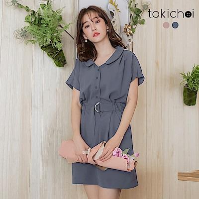 東京著衣  舒適清新圓領排釦腰綁帶洋裝-S.M.L(共兩色)