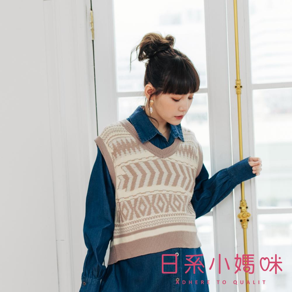日系小媽咪孕婦裝-孕婦裝 民族風圖騰短版針織背心上衣
