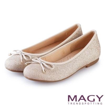 MAGY 清新甜美女孩 金蔥亮布蝴蝶結平底娃娃鞋-粉色
