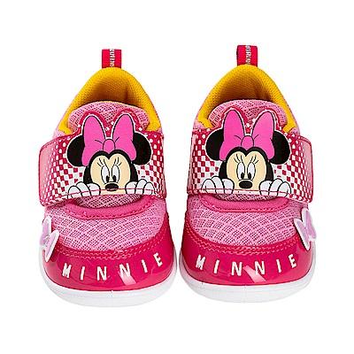 迪士尼童鞋 米妮 輕量魔鬼氈學步鞋-桃