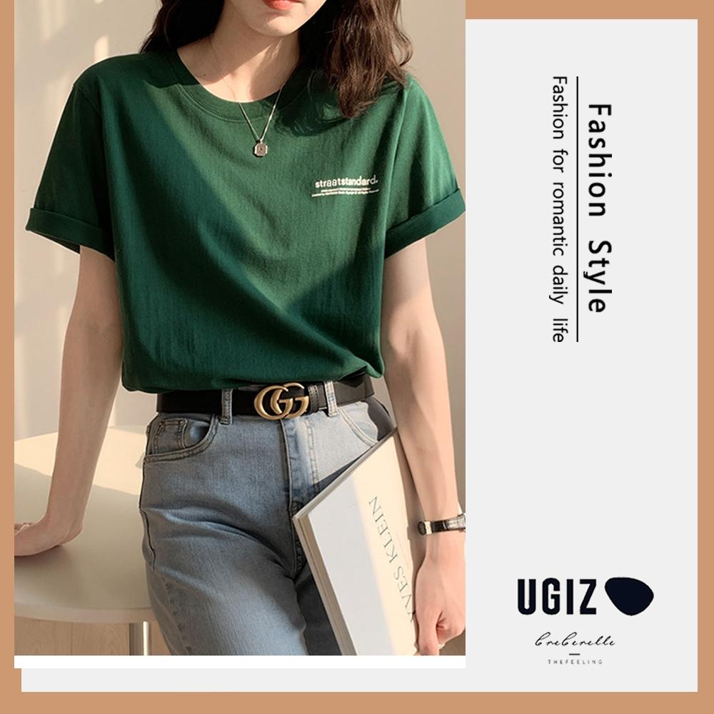 UGIZ-修身甜美圓領簡約英文LOGO造型上衣-綠色(M-XL)