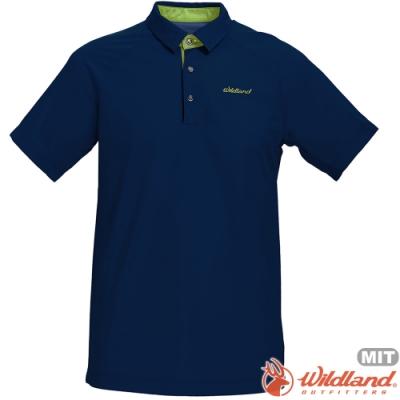 Wildland 荒野 0A71608-72深藍色 男涼感本布領短袖POLO衫