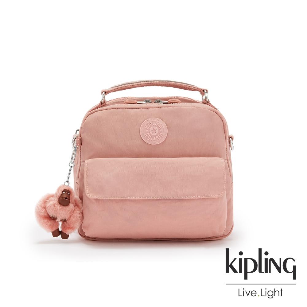 Kipling 玫瑰石英粉兩用側背後背包-CANDY