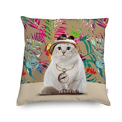 法國數位藝廊 貓貓抱枕/靠墊-探險貓(繽紛棕櫚)-含芯/40x40-網路獨家款