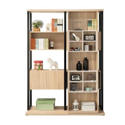 文創集 莫琳 現代5尺活動機能高書櫃/收納櫃(二色可選)-150x56x207.5cm免組