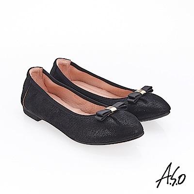 A.S.O 輕履鞋 蝴蝶結羊絨皮可折疊娃娃鞋 黑