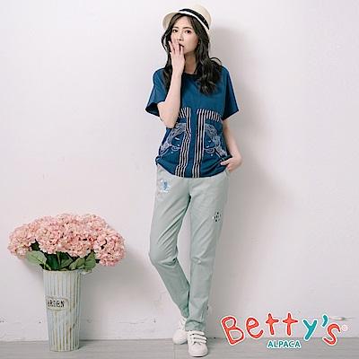 betty's貝蒂思 腰間鬆緊抽繩印貓咪長褲(淺綠)