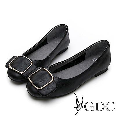 GDC-真皮素雅氣質水鑽方釦蝴蝶結上班包鞋-黑色