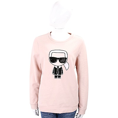 Karl Lagerfeld IKONIK 亮片墨鏡刺繡老佛爺粉色棉質運動衫
