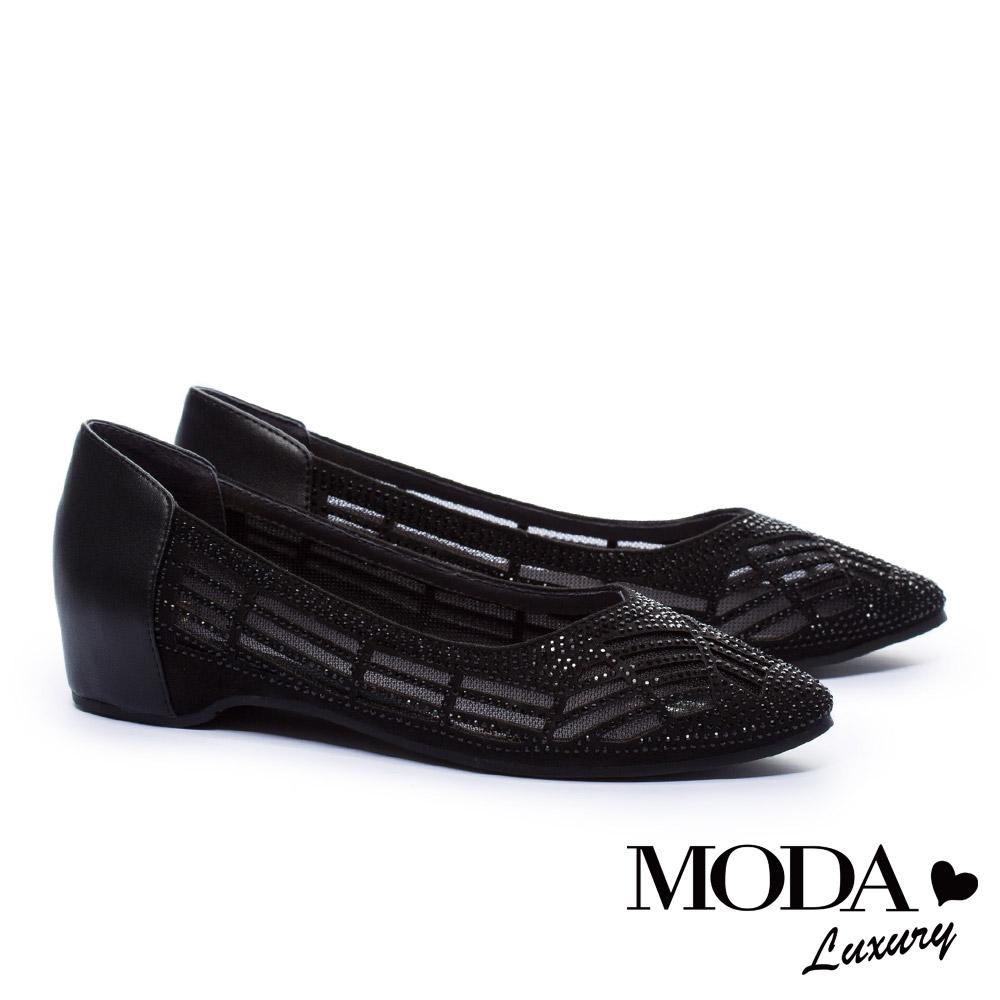 低跟鞋 MODA Luxury 異材質拼接透膚水鑽點綴內增高低跟鞋-黑