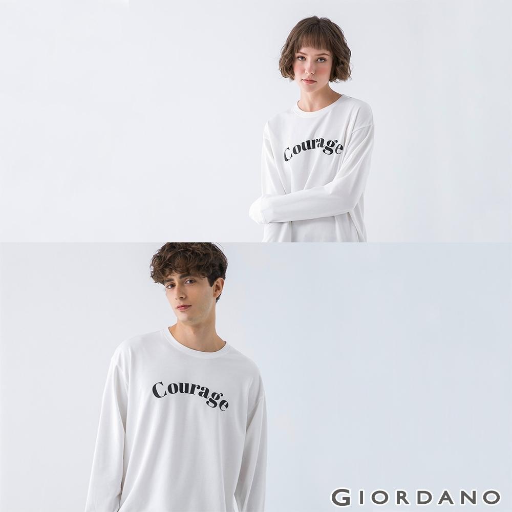 GIORDANO 中性款簡約文字大學T恤 - 01 皎白
