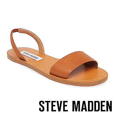 STEVE MADDEN-ALINA-真皮素面一字帶涼鞋-咖啡