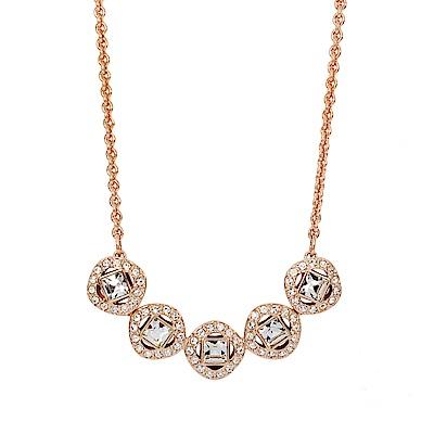 SWAROVSKI 施華洛世奇 ANGELIC SQUARE璀璨水晶圓形玫瑰金色項鍊