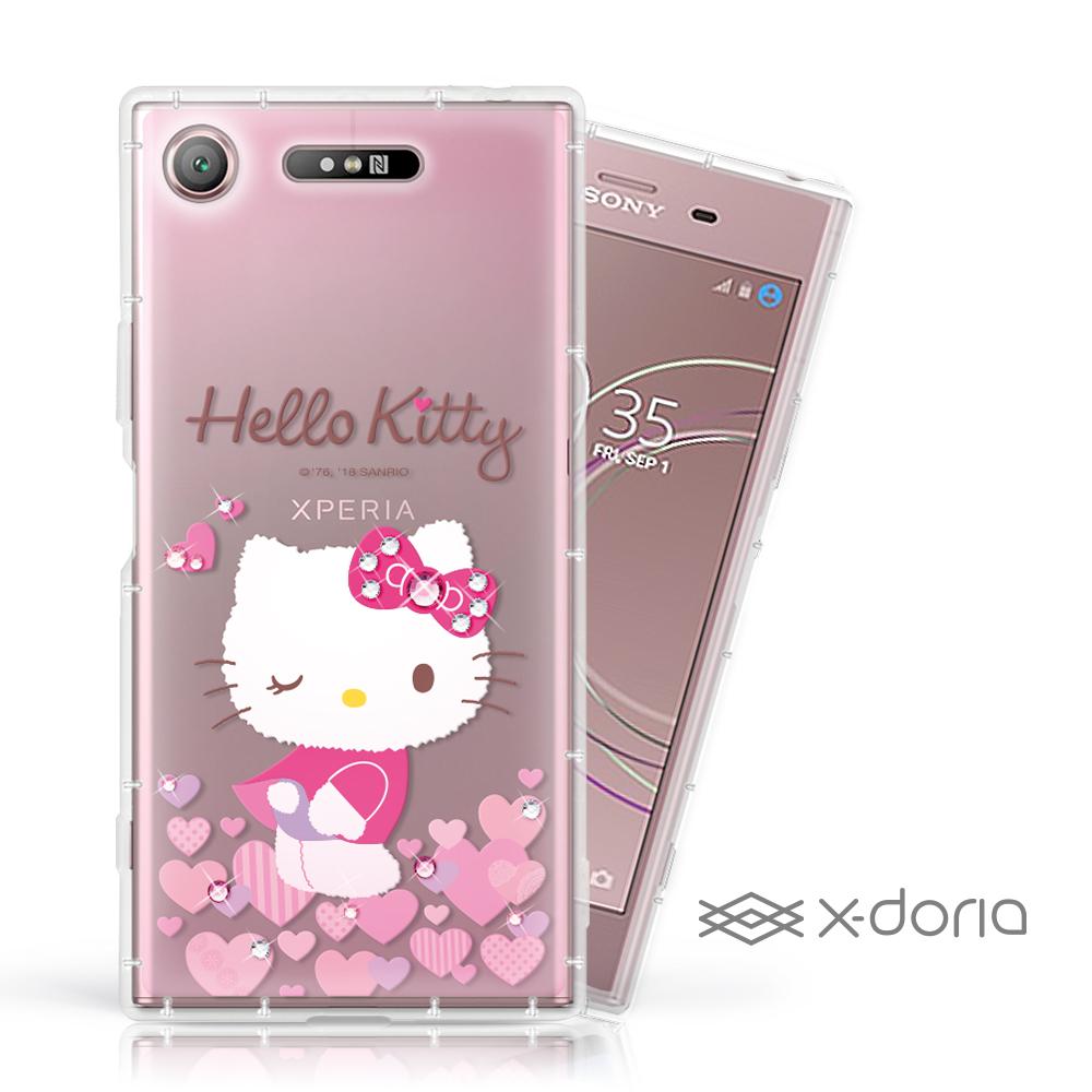 Hello Kitty SONY XZ1 彩繪水鑽手機空壓殼 - 心愛