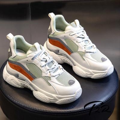 T2R-正韓空運-真皮網布隱形內增高厚底老爹鞋-增高7公分-米灰