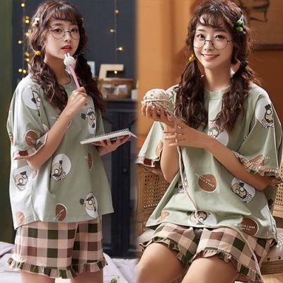 【韓國K.W.】(預購) 森系印花可愛格紋套裝褲-1色