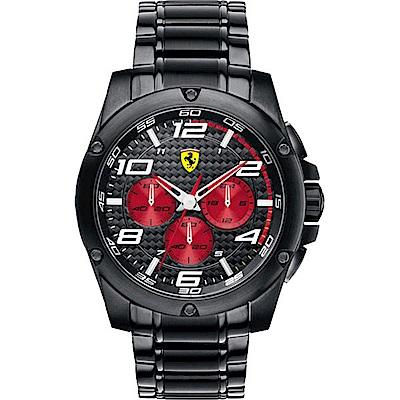 Scuderia Ferrari 法拉利 熱血鬥志競速三眼計時賽車錶-黑/46mm