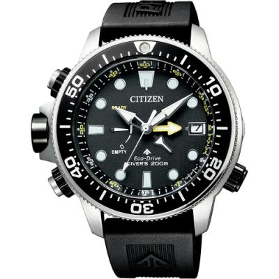 CITIZEN 星辰 PROMASTER 光動能200米潛水錶-黑膠帶/46mm