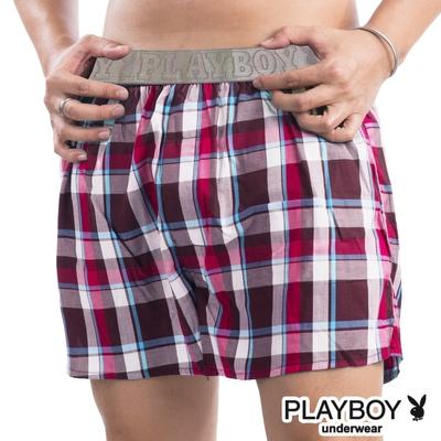 PlayBoy 舒適LOGO黑織帶五片式平口褲-單件(顏色隨機)