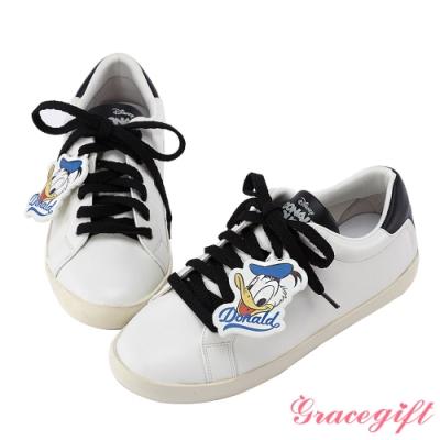 Disney collection by gracegift唐老鴨復古掛飾休閒鞋 黑