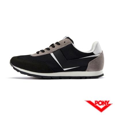 【PONY】SOHO系列復古慢跑鞋-女款-黑色
