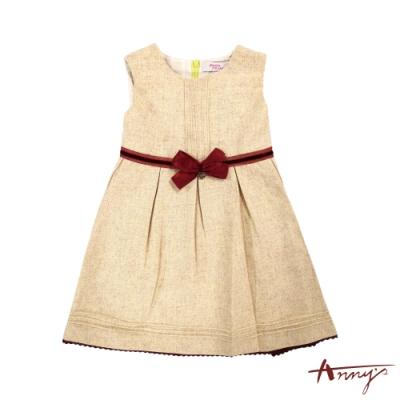 Annys安妮公主-氣質婉約秋冬款蝴蝶結綁帶混羊毛背心裙*7226黃色