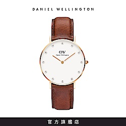 DW 手錶 官方旗艦店 34mm玫瑰金框 Classy 棕色真皮鑽石錶