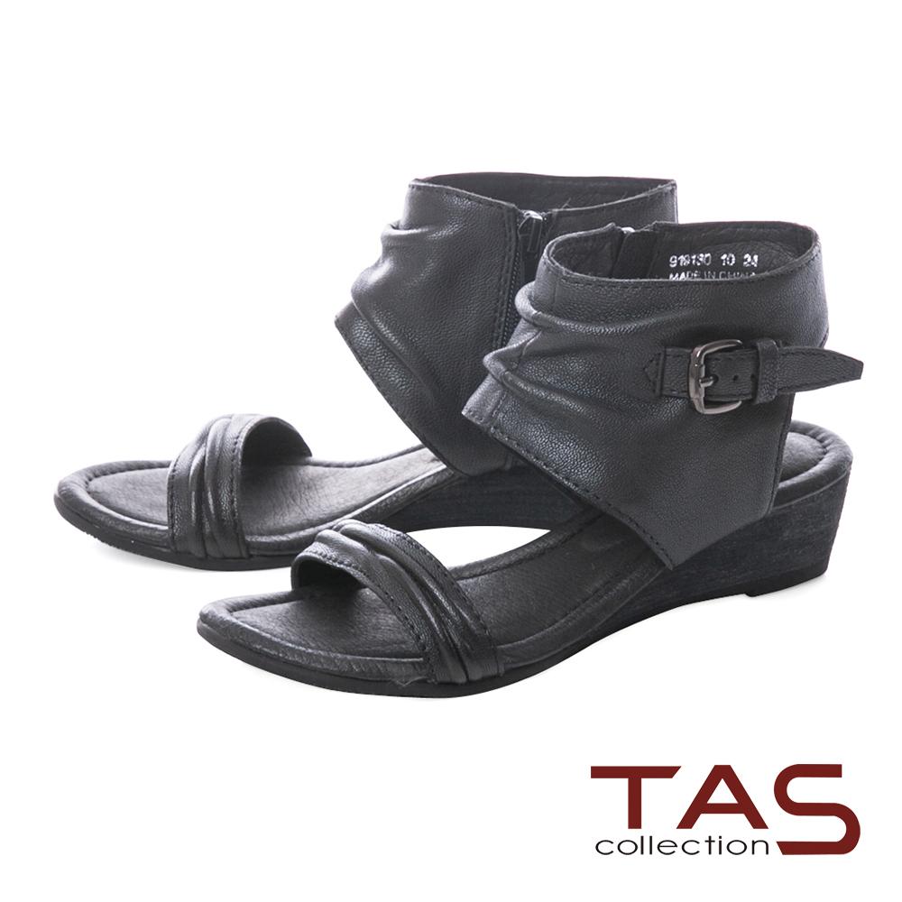 TAS 率性抓皺楔型涼鞋-人氣黑