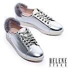 休閒鞋 HELENE SPARK Enchant系列水貂毛設計全真皮綁帶休閒鞋-銀