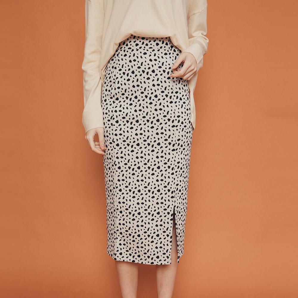 REESE 豹紋鬆緊及膝窄裙