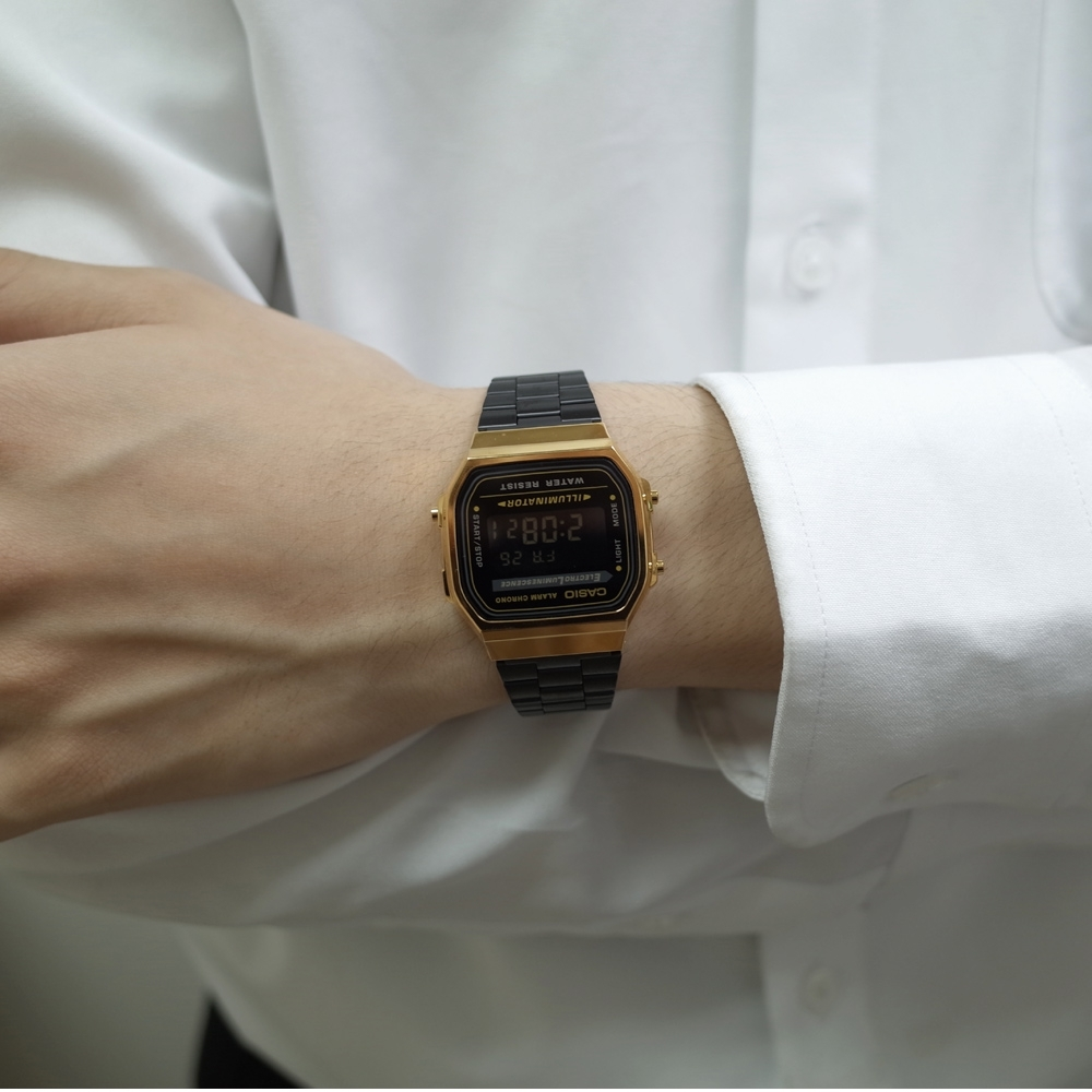 CASIO 復古造型電子錶(A168WEGB-1B)