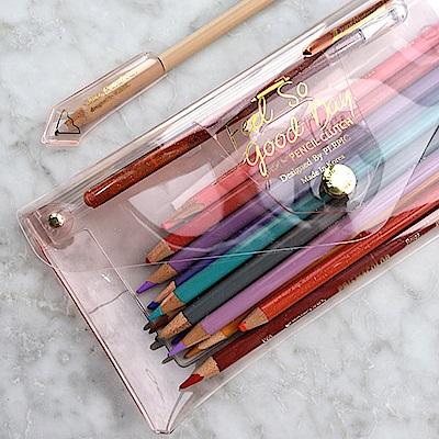 PLEPIC 糖果螢光透明筆袋-櫻花粉