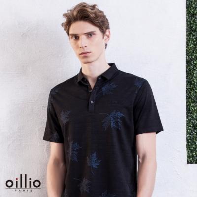oillio歐洲貴族 FIT男裝 短袖滑順 防皺POLO衫 頂級絲綢天絲棉棉料 黑色