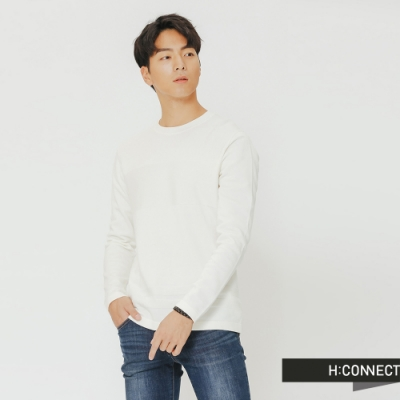 H:CONNECT 韓國品牌 男裝-質感造型針織上衣-白(快)