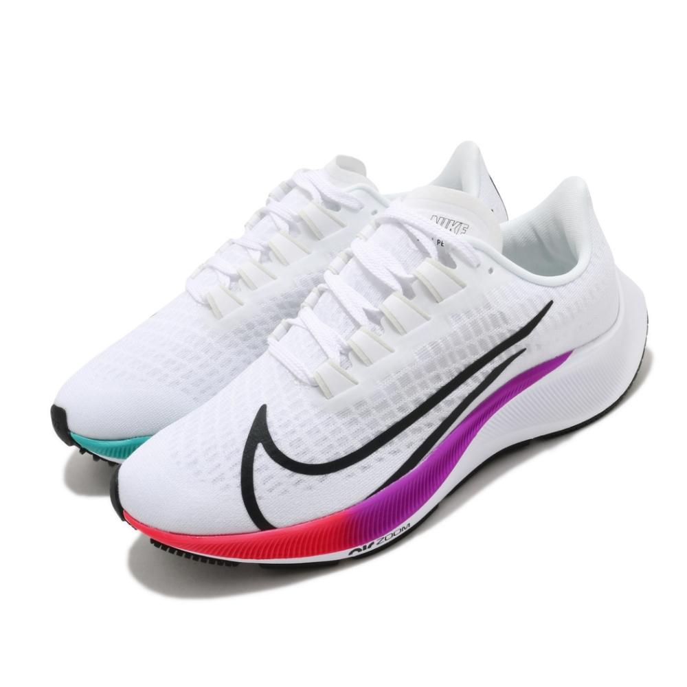 Nike 慢跑鞋 Zoom Pegasus 37 女鞋 氣墊 避震 路跑 健身 小飛馬 白 彩 BQ9647103