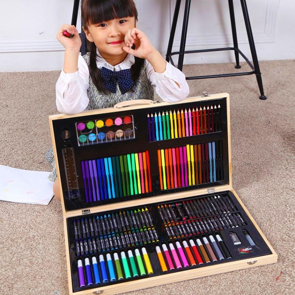 180件 木盒繪畫套組 彩色筆 色鉛筆 蠟筆【VENCEDOR】