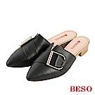BESO 摩登品味 質感D釦穆勒鞋~黑