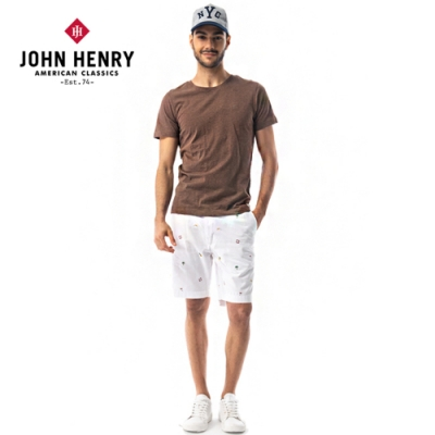 【JOHN HENRY】簡約品牌LOGO刺繡短袖T恤-咖啡色
