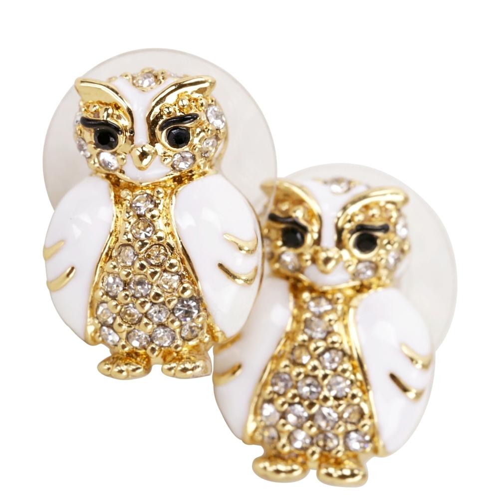 Kate Spade Owl studs 鑲鑽琺瑯貓頭鷹針式耳環
