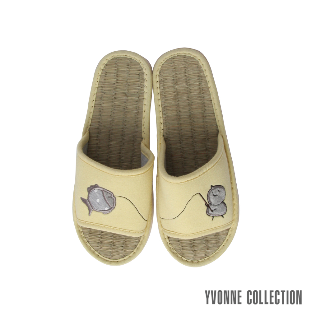 Yvonne Collection以旺 娃娃藺草拖鞋-嫩黃M