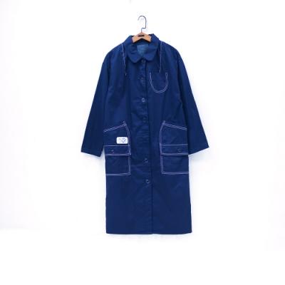 gozo 趣味壓線造型口袋長大衣(藍色)
