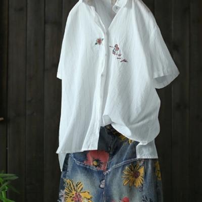 寬鬆刺繡純棉白色襯衫條紋上衣-設計所在